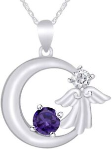 Simulated Amethyst Little Angel Moon Pendant  For Women's In 14k Gold Over
