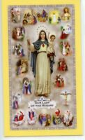 MYSTERIES OF THE HOLY ROSARY - Laminated  Holy Cards.  QUANTITY 25 CARDS