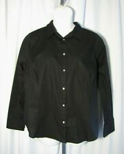 J. Crew 20 NWT Black Curvy Fit Shirt Blouse Top Stretch Plus Size NEW