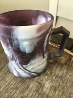 Dugan? Imperial? Purple Slag Glass Birds Tree Mug Cup