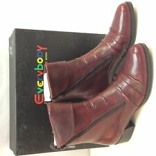 Women's Everybody BZ. MODA Fawn Glove Leather Ankle Boots, Red Wine,  37 EU (6.5