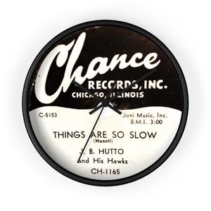 J.B. Hutto Chicago' Blues 78 RPM Record Label 10 Inch Wall Clock Chance Records