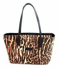 Ralph Lauren Tan Brown and Black Leopard Print Canvas Tote Shoulder Bag