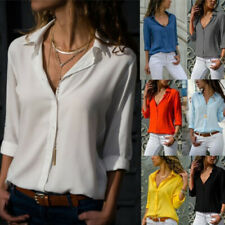 Women Short Sleeve Solid Blouse T-Shirt Casual Loose Lapel Button Cozy Plus Tops