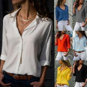 Women Short Sleeve Solid Blouse T-Shirt Casual Loose Lapel Button Cozy Plus Tops