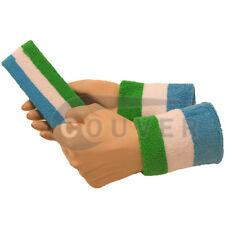 Couver Bright Green White Sky Blue Striped Headband Wristband Set