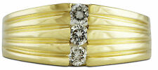 Mens 14k Yellow Gold Diamond Ring .45ct TW Size 11 G/SI2 Channel Set