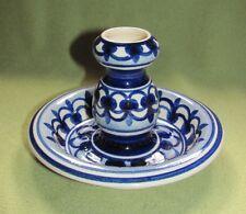 Keramik Kerzenleuchter ca. 60er Jahre; Blau/Weiß