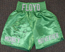"""FLOYD MAYWEATHER JR. AUTOGRAPHED SIGNED GREEN BOXING TRUNKS """"TBE"""" BECKETT 159664"""