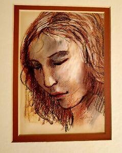 Original Pastel Portrait, Original Sketch, Woman Portrait