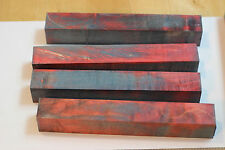 """Maple Stabilized Curly Wood turning blanks 7 1/4"""" X 1"""" Pen E-cig Red blue"""