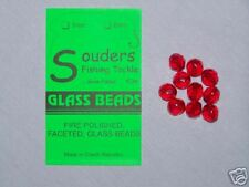 8mm Round, Faceted, Fire Polished Glass Beads - Red