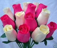 100 Cream&Cerise/Fuchsia Pink Wooden Roses Wholesale Wedding Flowers+15 Grasses