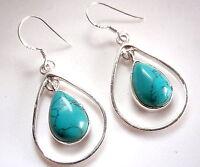 Dangling Turquoise Teardrop in Hoop Earrings 925 Sterling Silver Dangle Drop New