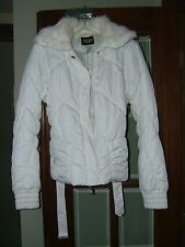 WOMAN'S GUESS JACKET - WHITE - SIZE S/P with FUR TYPE COLLAR - GENTLY PREOWNED