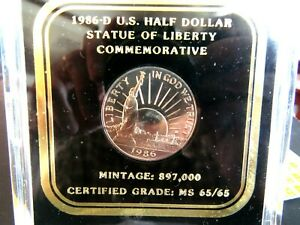 1986 D US HALF DOLLAR COMMEMORATIVE IN  GREAT LUCITE HOLDER CERTIFIED 65/65