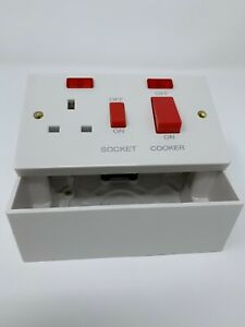 45 AMP Double Pole Cooker Socket/Switch with NEON with 47MM BACKBOX