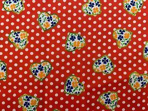 "Vintage Klopman Mills Red Polka Dot Flora Cotton  Fabric 44"" X 112"""