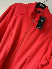 LADIES M&S SIZE 22 RED ORANGE SOFT STRETCH THERMAL FLEECE JACKET TOP FREE POST