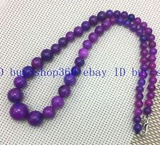 "NEW 6-14MM PURPLE AFRICA SUGILITE GEMS ROUND BEADS BRACELET18"" 925 SILVER Clasp"