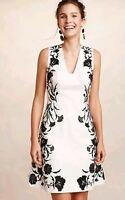 Anthropologie by Moulinette Soeur Embroidered Flower Dress White Black Sz 4 $228