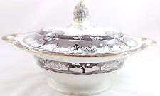 FAB ANTIQUE BURLEIGH WARE CHINA SYLVAN LARGE COVERED SERVING BOWL ART DECO STYLE