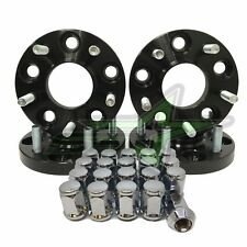 4PC Mustang Black Hub Centric Wheel Spacer Kit 20mm + 20 Chrome Bulge Acorn Lugs