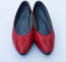 Vintage Women's Swan1 RedLeather Deliso Flats Shoes Slip-On Size 9 N Usa W/Box