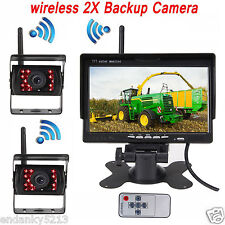 New Veise 7'' Wireless Auto Backup Rear View Two Camera For Agriculture RV VAN