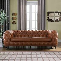 Modern Club Frame Sofa Real Leather Match Tufted Chesterfield Couch, Camel