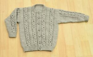 Hand knitted aran style cardigan age 2 to 3 years 56 cms 22 inches