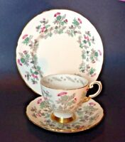 Tuscan Thistle Teacup Saucer And Dessert Plate - Pink Gray Green Gold - England