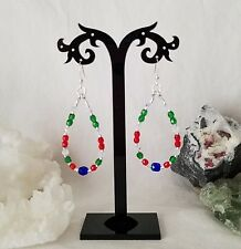 Beaded Sterling Silver Earrings Christmas Holidays Tear Drop