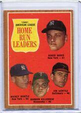 1962 Topps Baseball Card A L Home Run Leaders Mantle, Maris Near Mint # 53