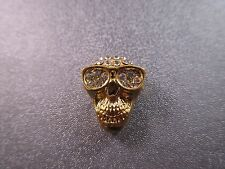 Gold Plated Skull w/ Rhinestone Spacer Beads 1pc