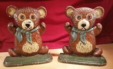 """VINTAGE 6.5"""" CAST IRON HAND STURDY PAINTED TEDDY BEAR BOOKENDS/DOORSTOPS"""