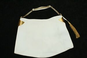 P- Vintage Gucci White Leather Gold Tassel 1970 Hobo Bag Italy