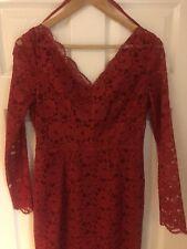 Jil Sander Red Lace Bodycon Pencil MIDI Dress UK 10 Gorgeous