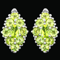 100% NATURAL 7X5MM PERIDOT GENUINE GEMSTONE SOLID STERLING SILVER 925 EARRING