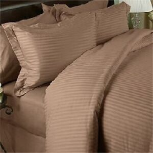 1200 TC EGYPTIAN COTTON 8,10,12,15 INCH DEEP POCKET TAUPE STRIPED BEDDING ITEM