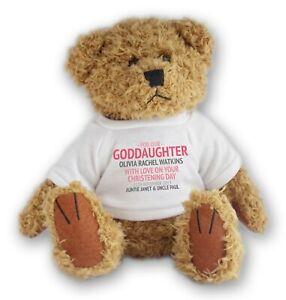 Personalised CHRISTENING teddy bear goddaughter baptism gift, godparent - TDCH3