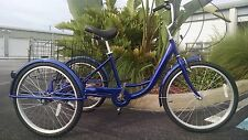 "Blue Adult Tricycle, 6 Speeds, Brand New, 24"" Inch Wheels Big Seat Large Basket"