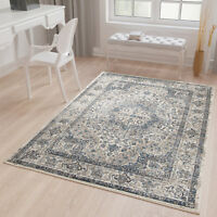 Traditional Area Rug Vintage Style Persian Quality Rug in Faded Grey Blue Cream