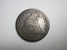 Circulated 1877 Liberty Seated Quarter Variety 4 Resumed Motto Above Eagle