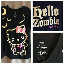 2010 Hello Kitty HELLO ZOMBIE Halloween T-Shirt Bats and Moon Size Plus Size 1