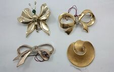 Vintage BOW TIE Pin Brooch LOT SET 4 Assorted Gold Tone Butterfly Art Jewelry