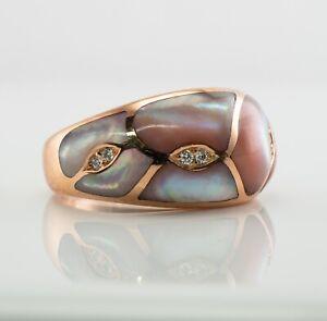 Kabana Mother of Pearl Diamond Ring 14K Rose Gold Band