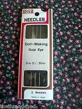 3 Doll Making Needles 3 1/2 in Regal Gold Eye