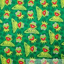 BonEful FABRIC FQ Cotton Quilt Green Kermit the Frog Jim Henson Muppet B&W Movie