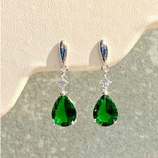 925 Sterling Silver Green Tear Drop Earrings Studs Dangle Dropper Cubic Zironia